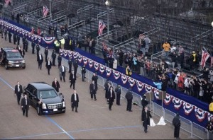 Epically empty grandstand along Trump's parade route.