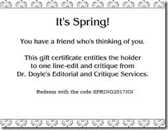 Sample Spring Gift Certificate2017
